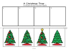 ***FREE*** This is a sequencing activity and discussion starter featuring a Christmas tree, for preschool, pre-K and Kindergarten. Cut out trees and arrange in sequential order. I have included a color copy, a b/w copy, and a coloring page. Other Christmas items can also be added to the picture.