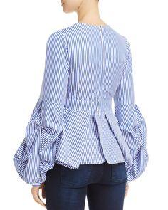 Alpha and Omega Striped Bell-Sleeve Top Cute Fashion, Denim Fashion, Look Fashion, Hijab Fashion, Fashion Outfits, Fashion News, Blouse Styles, Blouse Designs, Moda Chic