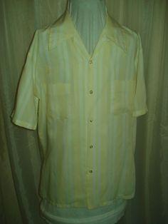 Mens Vintage 50's Mr California Yellow & White Stripe Rockabilly Loop Shirt L