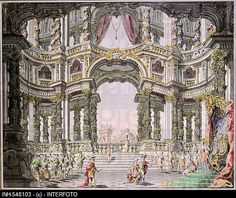 Stock Photo: fine arts, da Bibiena, Giuseppe Galli 1696 - stage design for the opera Dido and Aeneas by Henry Purcell 1659 - drawing, coloured, century. Architecture Antique, Architecture Drawings, Historical Architecture, Theater, Toy Theatre, Stage Design, Theatre Design, Set Design, Scenic Design