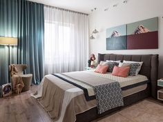 Apartment in Kyiv (see more) #apartment #flat #kyiv #ukraine #decor #bed #bedroom #pillow #textile #inspiration #curtains