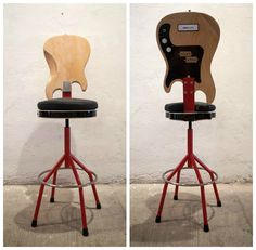 Pablo and Xan from debigotenrotllat.com made this chair from a bass and a guitar that were found in the trash.…