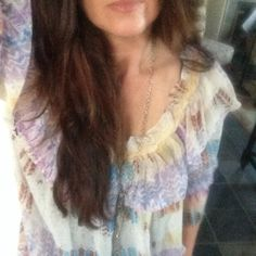 Free People chiffon top extra pics No size tag but it's a medium. Free People Tops