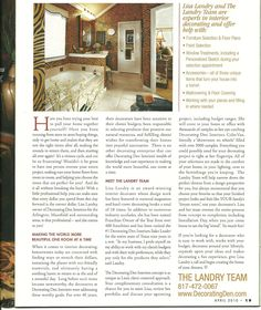 Living Magazine 2010 cover story. The Landry Team has been a Business with Decorating Den Interiors over for 15 years.  Since then the Landry team has won many awards and been featured in several different magazines over the years.