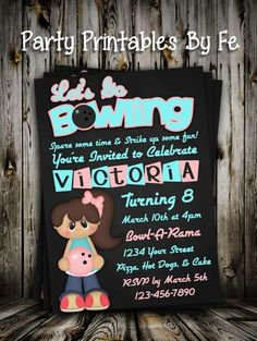 Birthday Party Invitation - Lets Go Bowling - Girl - Pink and Teal - Vertical