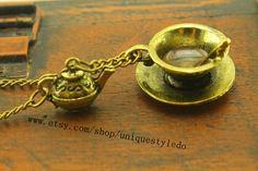 Antique tea cup necklace Alice in Wonderland by uniquestyledo, $2.65