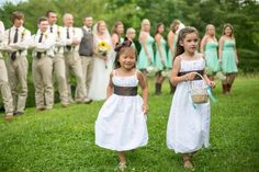 Flower girl outfit idea - white a-line dresses with brown sashes {Andrea Caresse Lewis Photography}
