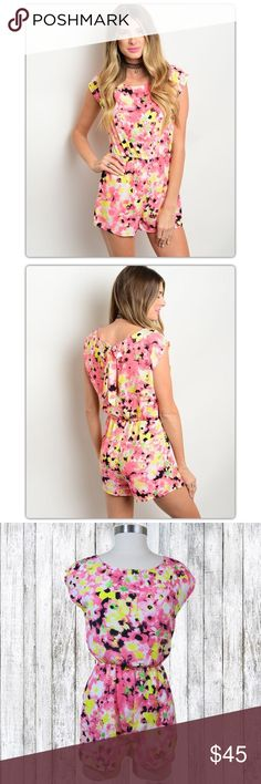 Fuschia Pink & Yellow Floral Romper This floral romper features a round neckline, gathered elastic waist, pull on style with bow closure at the neck and lace trim on the sleeves.  Ladies with hips: Size up! Dresses Mini