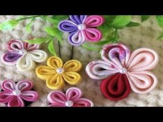 Hello everyone, here is my new video for DIY Summer Bracelets. They are super easy to make and look super cool and are perfect for gifts to your friends or f. Ribbon Art, Ribbon Crafts, Flower Crafts, Ribbon Bows, Flower Video, Summer Bracelets, Kanzashi Flowers, Summer Diy, Fabric Flowers