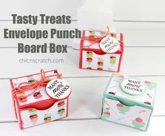 Tasty Treats Envelope Punch Board Box with Stampin' Up! Envelope Punch Board Projects, Envelope Maker, Stampin Up, Best Gift Baskets, Origami, How To Make Box, Craft Show Ideas, Wine Gifts, Making Ideas