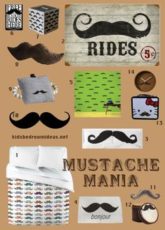Mustaches are everywhere these days. Whether you're creating a little man nursery or just want some whimsical decor touches, it's a great and trendy choice. Click through to see where to find everything.