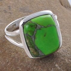 GREEN COPPER TURQUOISE 925 SOLID STERLING SILVER RING R01268 6.37g SIZE 11.5 #Handmade #RING