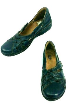 28571dfa2a5 Clarks Collection Blue Leather Slip On Casual Loafer Shoes Women Size 8.5 N   Clarks