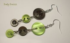 Button earrings in spring greens and browns. Silver hooks. Inspired by the returning greens and browns of the forest. Beautiful. unique.  https://www.etsy.com/ca/listing/227646554/button-earrings-in-spring-greens-and?ref=pr_shop