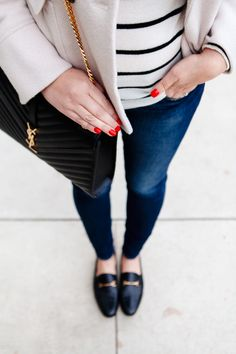 Striped Turtleneck worn with peplum peacoat, denim and bit loafers on Kendi Everyday