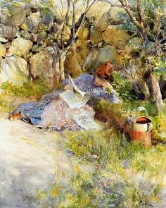 Lady Reading a Newspaper by Carl Larsson 1886. Swedish painter (1853-1919)