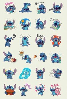 Lilo&Stitch--these could be some sort of emoticons in IMing! Walt Disney, Disney Love, Disney Magic, Disney Art, Baymax, Lilo Stitch, Lilo And Stitch Tattoo, Cute Stitch, Disney And Dreamworks
