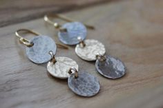Mixed Metal Hammered Drop Earrings Silver and by BlueSoulDesigns, $34.00