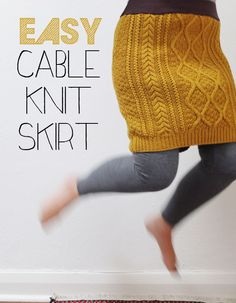 Upcycle a cable knit sweater into a cute winter skirt.  Just one seam.