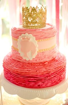 Stunning ruffle cake at a pink princess birthday party! See more party planning ideas at CatchMyParty.com!