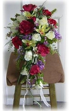 green and burgundy wedding bridal cascade bouquets - Google Search