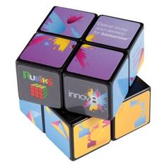 A large Rubik's Cube with four tiles to each side. Offers a large branding area for easier positioning of your design.