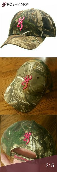 Pink and Camo Browning Hat Hot pink and country camouflage baseball hat Adjustable Velcro snapback Women's Worn once.and in beautiful condition except for the factory defect (discoloration) on the underside of the bill, see last photo   Tags: country real tree mossy oak browning buck decal embroidered Browning Accessories Hats