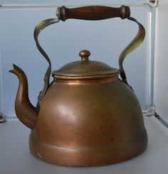 Vintage Douro B&M Copper Tea Kettle w/ Wood Handle Made in Portugal Nice Patina