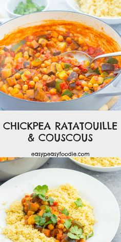 Easy, healthy and budget friendly, this Chickpea Ratatouille recipe is a sort of cross between ratatouille and a tagine, with a definite North African vibe from the cumin and coriander. It goes brilliantly with couscous or brown rice. Vegetarian Dinners, Vegetarian Recipes, Healthy Recipes, Kitchen Recipes, Cooking Recipes, Dinners Under 500 Calories, Ratatouille Recipe, Couscous Recipes, Midweek Meals