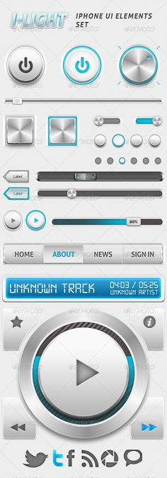 I-Light Iphone UI Elements Set (Retina Ready) - GraphicRiver Item for Sale