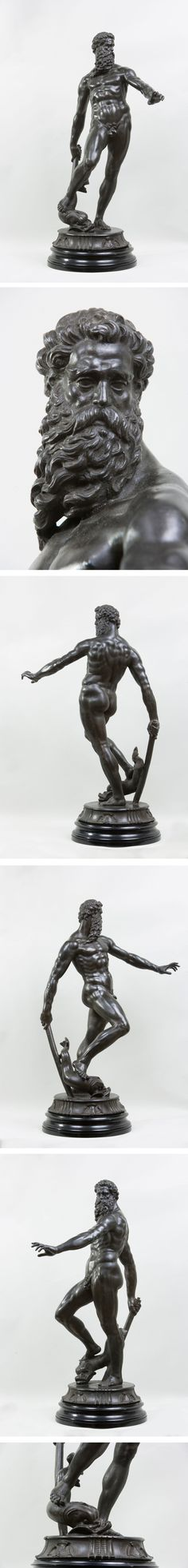 After Giambologna, Bronze Figure of Neptune, 18th - 19th Century; on a wooden circular base - Dim: Bronze: 82 x 47 cm
