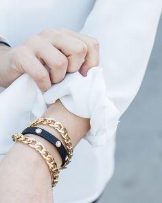 gold & leather bracelets