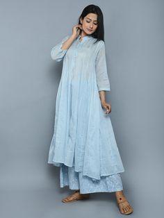 Sky Blue Cotton Kalidar Kurta