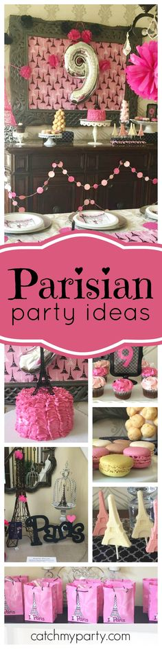 Take a trip to Paris with this fabulous birthday party!  Check out the pink ruffled birthday cake! See more party ideas and share yours at CatchMyParty.com