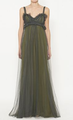 ***Fairytale Wedding*** Vera Wang Dark Olive Dress, great color for outdoor wedding, then vibrant bold floral bouquets.