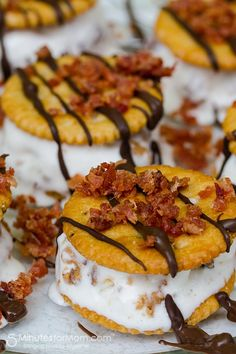 Add a savory splash of bacon to dessert tonight with vanilla ice cream sandwiches, drizzled in chocolate and topped with chunks of bacon...yes, this is real life.