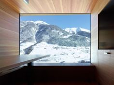 Mountain Views, Dining, Kitchen Space, Maison Boisset in Orsières Switzerland by Savioz Fabrizzi Architectes