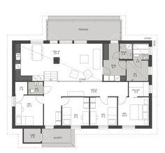 Rinnetontille sopiva, porrastettu pohjamalli, jossa yhteiset tilat sijaitsevat makuuhuoneita muutamaa askelmaa alempana. Olohuoneen ja keittiön väliin sijoitettu takka toimii näyttävänä tilanjakajana. Neljästä makuuhuoneesta kahdessa on oma, erillinen vaatehuone. Takapihan katetulle terassille on pääsy olohuoneesta ja kodinhoitohuoneesta. Tiesithän, että useimmat Ainoakodin talomallit on mahdollista porrastaa. Tutustu siis myös porrastamattomiin malleihimme ja kysy lisää talomyyjältäsi.
