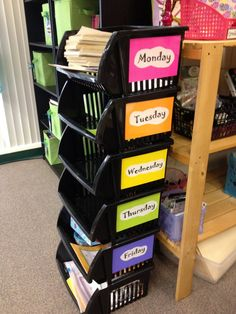 Organize classroom materials for the entire week in storage bins