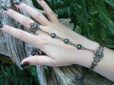 Black slave bracelet Czech black Gothic hand flower