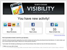 How much time do you spend tracking comments about your business on local review websites like Yelp®, Yellow Pages®, FourSquare®, CityGrid®, and Facebook®?    When you setup Local Reviews in Search Engine Visibility, you have the option to receive weekly email updates. They include a recap of how many reviews, likes, and check-ins your business had that week.     This feature lets you focus on running your business while Search Engine Visibility takes care of monitoring your Local Reviews.