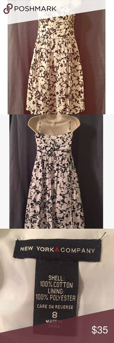 Mid Length Dress, NY and Co Mid length dress with slip underlay, side zipper access, and adjustable straps. Size 8. Colors navy blue and white. New York & Company Dresses Asymmetrical