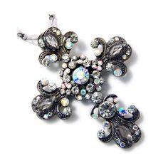 Amazon.com: Large Hematite Tone Crystal Cross Necklace Fashion Jewelry: Jewelry