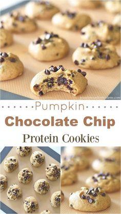 Pumpkin Chocolate Chip Protein Cookies #pumpkin #cookies #healthy #eatclean