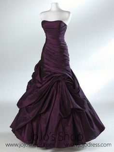 Purple Ruched Strapless Fit And Flare Formal Evening Dress HB2012B