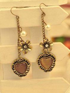 Europe and America loving heart ear pendants