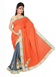 Appealing Grey & Orange #Saree With Silver & Gold Work