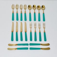 Looking for an Antique French Art Deco Fruit Dessert Set?  The set includes 4 pastry / cake knives, 4 pastry / cake forks, 4 fruit forks, 4 cheese /