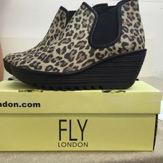 Fly London Shoes Fly London New in box Leopard/black wedge booties Fly London Shoes Ankle Boots & Booties