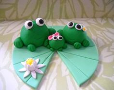 Frog Family Edible Cake Topper by SugarArtByTami on Etsy 1st Birthdays, 1st Birthday Parties, Birthday Cakes, Lily Cake, Frog Cakes, Edible Cake Toppers, Sugar Art, Unique Jewelry, Handmade Gifts
